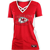NFL Team Apparel Women's Kansas City Chiefs Mesh Lace Red T-Shirt