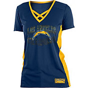NFL Team Apparel Women's Los Angeles Chargers Mesh Lace Navy T-Shirt