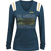 NFL Team Apparel Women's Los Angeles Chargers Tri-Blend Foil Navy Long Sleeve Shirt