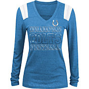 NFL Team Apparel Women's Indianapolis Colts Tri-Blend Foil Blue Long Sleeve Shirt