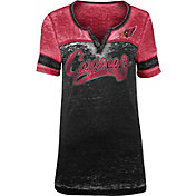 NFL Team Apparel Women's Arizona Cardinals Foil Burnout V-Neck T-Shirt