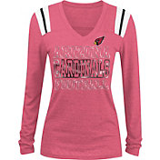 NFL Team Apparel Women's Arizona Cardinals Tri-Blend Foil Red Long Sleeve Shirt