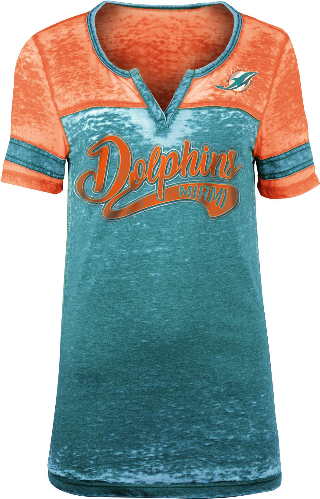 88f5a92fb NFL Team Apparel Women s Miami Dolphins Foil Burnout V-Neck T-Shirt ...