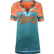 NFL Team Apparel Women's Miami Dolphins Foil Burnout V-Neck T-Shirt