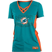 NFL Team Apparel Women's Miami Dolphins Mesh Lace Aqua T-Shirt