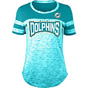 NFL Team Apparel Women's Miami Dolphins Space Dye Rhinestone T-Shirt