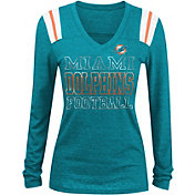 NFL Team Apparel Women's Miami Dolphins Tri-Blend Foil Aqua Long Sleeve Shirt