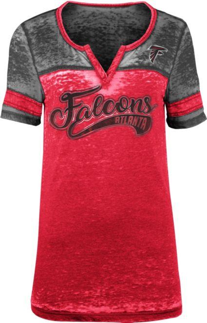 NFL Team Apparel Women s Atlanta Falcons Foil Burnout V-Neck T-Shirt ... 105de09be