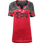 NFL Team Apparel Women's Atlanta Falcons Foil Burnout V-Neck T-Shirt