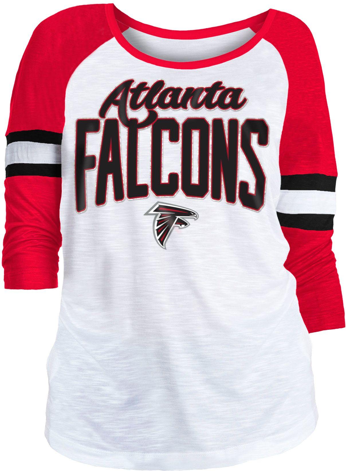 NFL Team Apparel Women s Atlanta Falcons Glitter Slub White Raglan ... b276cca29