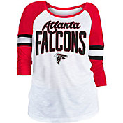 NFL Team Apparel Women's Atlanta Falcons Glitter Slub White Raglan Shirt