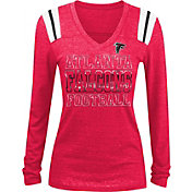 NFL Team Apparel Women's Atlanta Falcons Tri-Blend Foil Red Long Sleeve Shirt