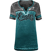 NFL Team Apparel Women's Philadelphia Eagles Foil Burnout V-Neck T-Shirt