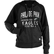 NFL Team Apparel Women's Philadelphia Eagles Glitter Tri-Blend Fleece Full-Zip Hoodie