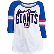 NFL Team Apparel Women's New York Giants Glitter Slub White Raglan Shirt