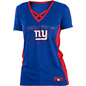 NFL Team Apparel Women's New York Giants Mesh Lace Royal T-Shirt