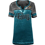 NFL Team Apparel Women's Jacksonville Jaguars Foil Burnout V-Neck T-Shirt