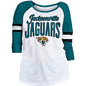 NFL Team Apparel Women's Jacksonville Jaguars Glitter Slub White Raglan Shirt