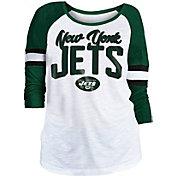 NFL Team Apparel Women's New York Jets Glitter Slub White Raglan Shirt