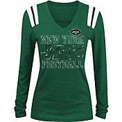 NFL Team Apparel Women's New York Jets Tri-Blend Foil Green Long Sleeve Shirt