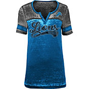 NFL Team Apparel Women's Detroit Lions Foil Burnout V-Neck T-Shirt