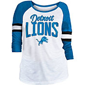 NFL Team Apparel Women's Detroit Lions Glitter Slub White Raglan Shirt