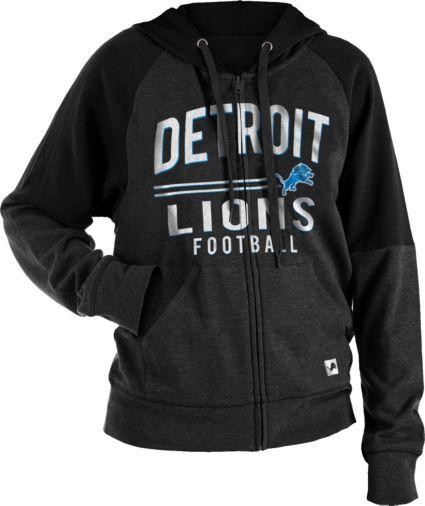NFL Team Apparel Women s Detroit Lions Glitter Tri-Blend Fleece Full-Zip  Hoodie. noImageFound 44d76d0b9