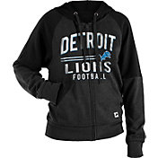 NFL Team Apparel Women's Detroit Lions Glitter Tri-Blend Fleece Full-Zip Hoodie