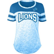 NFL Team Apparel Women's Detroit Lions Space Dye Rhinestone T-Shirt