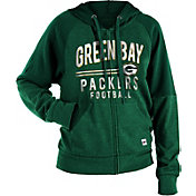 NFL Team Apparel Women's Green Bay Packers Glitter Tri-Blend Fleece Full-Zip Hoodie