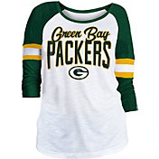 NFL Team Apparel Women's Green Bay Packers Glitter Slub White Raglan Shirt
