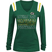 NFL Team Apparel Women's Green Bay Packers Tri-Blend Foil Green Long Sleeve Shirt