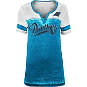 NFL Team Apparel Women's Carolina Panthers Foil Burnout V-Neck T-Shirt