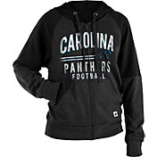 NFL Team Apparel Women's Carolina Panthers Glitter Tri-Blend Fleece Full-Zip Hoodie