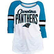 NFL Team Apparel Women's Carolina Panthers Glitter Slub White Raglan Shirt