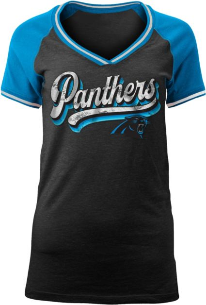 NFL Team Apparel Women s Carolina Panthers Retro Glitter T-Shirt.  noImageFound 43aab2554197