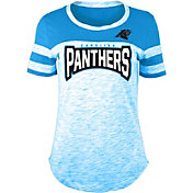 NFL Team Apparel Women's Carolina Panthers Space Dye Rhinestone T-Shirt