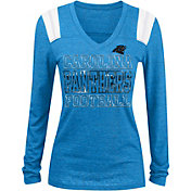 NFL Team Apparel Women's Carolina Panthers Tri-Blend Foil Blue Long Sleeve Shirt