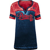 NFL Team Apparel Women's New England Patriots Foil Burnout V-Neck T-Shirt