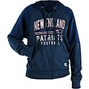 NFL Team Apparel Women's New England Patriots Glitter Tri-Blend Fleece Full-Zip Hoodie