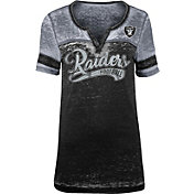 NFL Team Apparel Women's Oakland Raiders Foil Burnout V-Neck T-Shirt