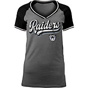 NFL Team Apparel Women's Oakland Raiders Retro Glitter T-Shirt