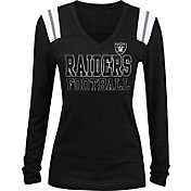 NFL Team Apparel Women's Oakland Raiders Tri-Blend Foil Black Long Sleeve Shirt
