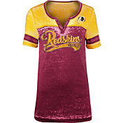 NFL Team Apparel Women's Washington Redskins Foil Burnout V-Neck T-Shirt