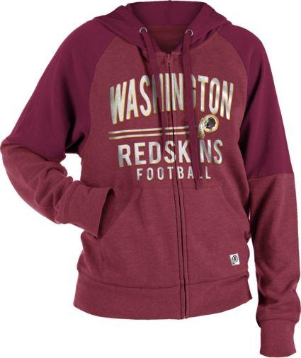 NFL Team Apparel Women s Washington Redskins Glitter Tri-Blend Fleece  Full-Zip Hoodie. noImageFound 1257420d2