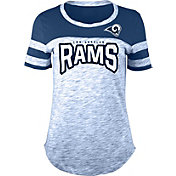 NFL Team Apparel Women's Los Angeles Rams Space Dye Rhinestone T-Shirt