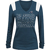 NFL Team Apparel Women's Los Angeles Rams Tri-Blend Foil Navy Long Sleeve Shirt