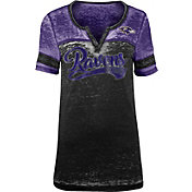 NFL Team Apparel Women's Baltimore Ravens Foil Burnout V-Neck T-Shirt