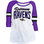 NFL Team Apparel Women's Baltimore Ravens Glitter Slub White Raglan Shirt