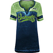 NFL Team Apparel Women's Seattle Seahawks Foil Burnout V-Neck T-Shirt